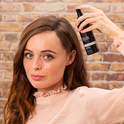 Fibrehold Spray to adhere fibres to existing hair